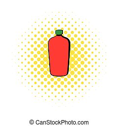 Red cosmetic bottle icon, comics style