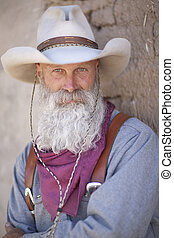 Cowboy With a Long White Beard - Portrait of a cowboy...