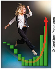 Businesswoman runing up a stairway and growing sales chart...