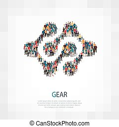 gear people symbol - Isometric set of styles, gear , web...