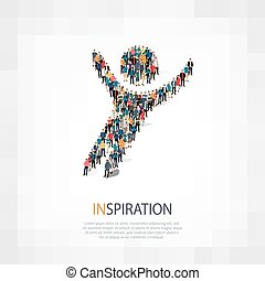 inspiration people symbol - Isometric set of styles,...