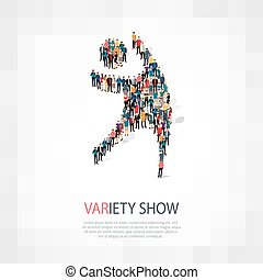 variety show people symbol - Isometric set of styles,...