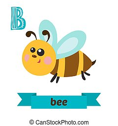 Bee B letter Cute children animal alphabet in vector Funny...