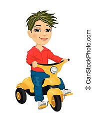 cute little boy riding a tricycle