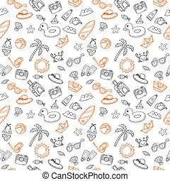 Hand drawn seamless summer pattern with beach icons. Sketch background on a beach theme