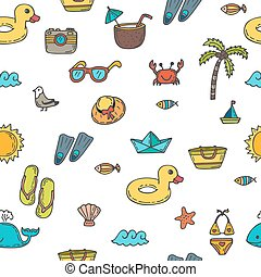 Seamless summer pattern with hand drawn beach icons. Vector beach background. Summer print
