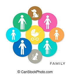 Vector family infographic icons - Modern colorful vector...