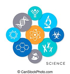 Vector science infographic icons - Modern colorful vector...