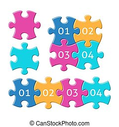 Jigsaw puzzle pieces with numbers