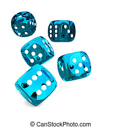 game blue dices rolling on white table - 3d game blue dices...