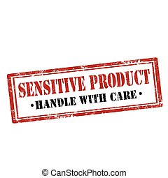 Sensitive Product-stamp - Grunge rubber stamp with text...