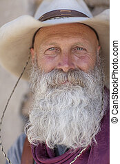 Cowboy With a Long White Beard - Portrait of an older man...