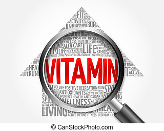 VITAMIN arrow word cloud with magnifying glass, health...