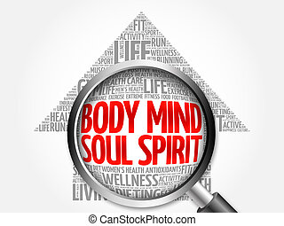 Body Mind Soul Spirit arrow word cloud with magnifying...