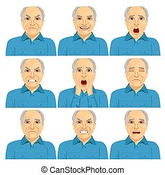 collection of senior adult bald man making six different...
