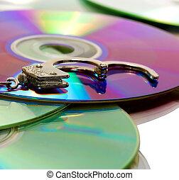 pirate CD - handcuffs in pile pirate CD