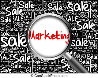 MARKETING sale word cloud with magnifying glass, business...