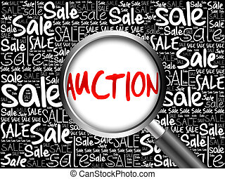 AUCTION sale word cloud with magnifying glass, business...