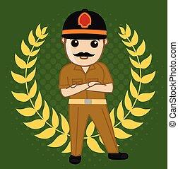 Vector Illustration of Fireman