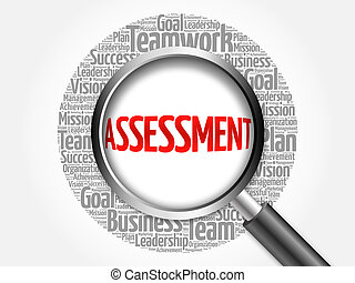 ASSESSMENT word cloud with magnifying glass, business...