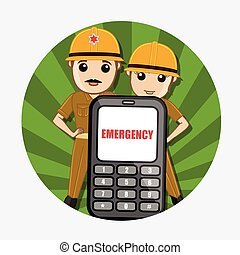 Emergency Call for Fire Brigade Service Concept Vector...