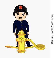 Firefighter with Hydrant Vector Illustration