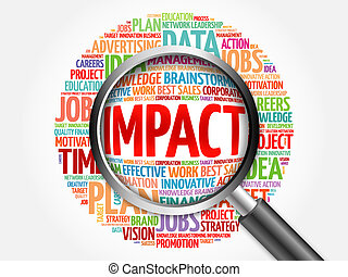Impact word cloud with magnifying glass, business concept
