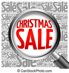 Christmas SALE word cloud with magnifying glass, business...