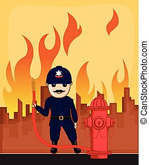 Firefighter Holding a Fire Hose - Firefighter Character...