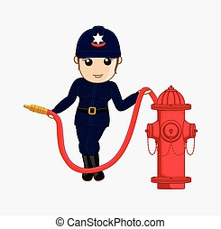 Lady Firefighter Holding Fire-Hose - Lady Firefighter...