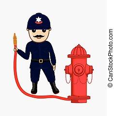 Fireman Holding a Hydrant Fire-Hose - Cartoon Fireman...