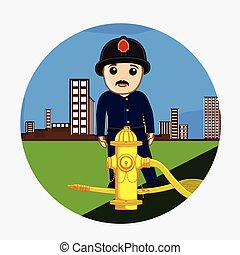 Firefighter Character with Hydrant in Modern City Vector...