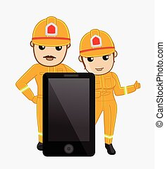 Call Us - Fire Brigade in Emergency Concept Vector...