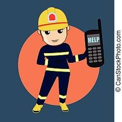 Fire Brigade Helpline - Cartoon Vector Concept