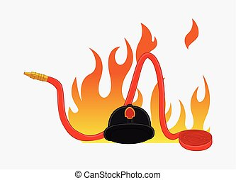 Fireman Hat and Fire Hose Vector - Fireman Hat and Fire Hose...