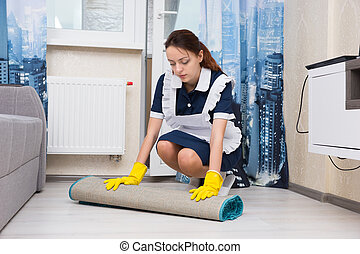 Young woman doing the housekeeping - Young woman dressed in...
