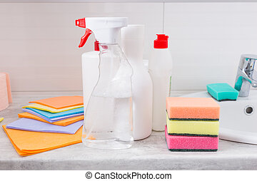 Assortment of new household cleaning products