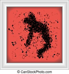 Man made of music notes dancing