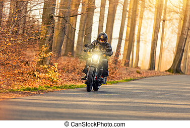 Young man riding chopper on road in forest - Young man...