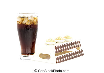 pretas, bebida, (cola), e, Açúcar, sobre,...