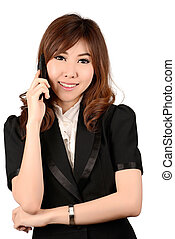 Businesswoman on cellphone running while talking on...