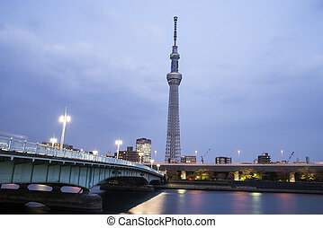 Tokyo city view and Sumida river The Sky Tree at a summer...