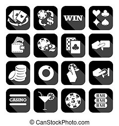The set of flat casino icons - The set of flat monochrome...