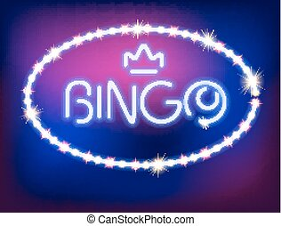 Neon Light Bingo Isolated Illustration. Pattern Brushes and...