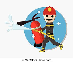 Fireman Holding a Fire Hose - Cartoon Fireman Holding a Fire...