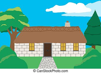 Cottage In Countryside - A cottage in the countryside with...