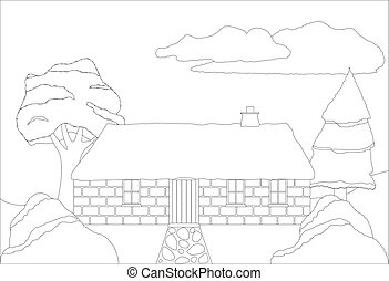 Cottage In Countryside Colouring Page - A cottage in the...