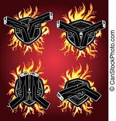 fuego, Arma,  glock, pistola, Llamas