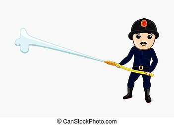 Fireman with Fire Hose Vector Illustration
