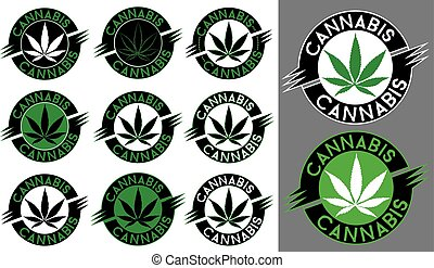 Cannabis Marijuana hemp leaf stamps